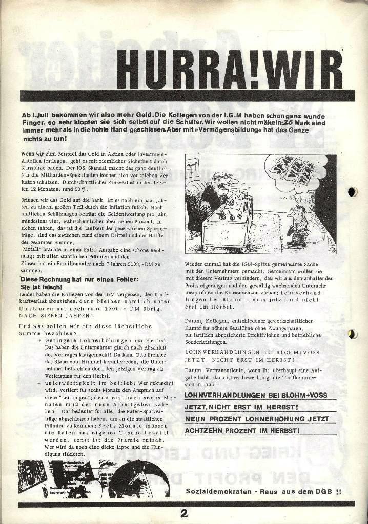 Blohm und Voss Arbeiterzeitung, Nr. 2, Jg. 1, Juni/Juli 1970, Seite 2
