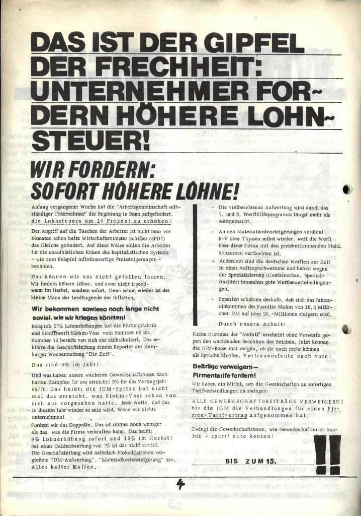 Blohm und Voss Arbeiterzeitung, Nr. 2, Jg. 1, Juni/Juli 1970, Seite 4