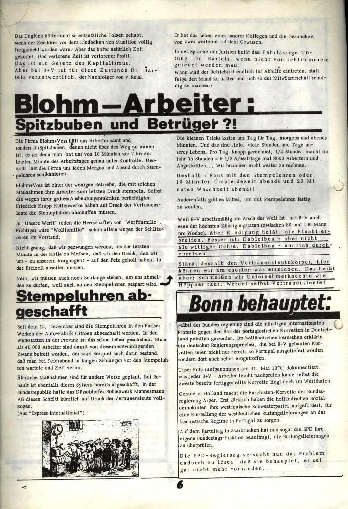 Blohm und Voss Arbeiterzeitung, Nr. 2, Jg. 1, Juni/Juli 1970, Seite 6
