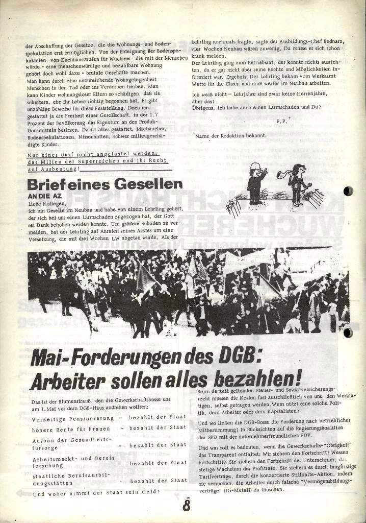 Blohm und Voss Arbeiterzeitung, Nr. 2, Jg. 1, Juni/Juli 1970, Seite 8