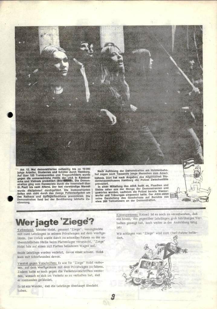 Blohm und Voss Arbeiterzeitung, Nr. 2, Jg. 1, Juni/Juli 1970, Seite 9