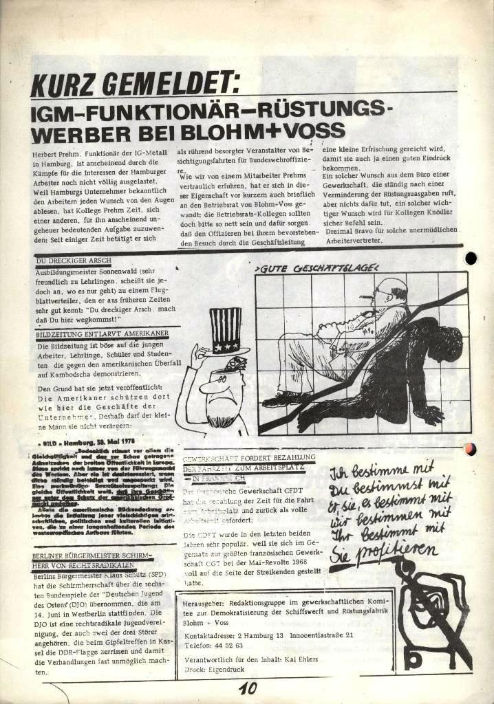 Blohm und Voss Arbeiterzeitung, Nr. 2, Jg. 1, Juni/Juli 1970, Seite 10