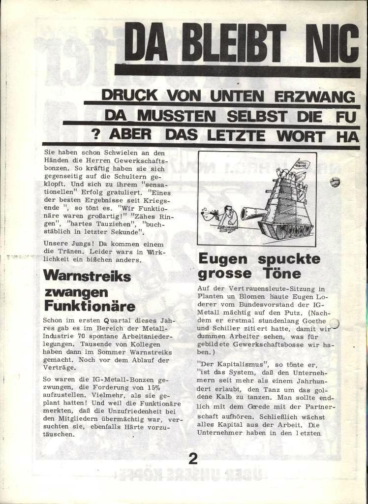 Blohm und Voss Arbeiterzeitung, Nr. 4, Jg. 1, Nov./Dez. 1970, Seite 2