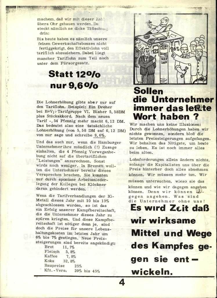 Blohm und Voss Arbeiterzeitung, Nr. 4, Jg. 1, Nov./Dez. 1970, Seite 4