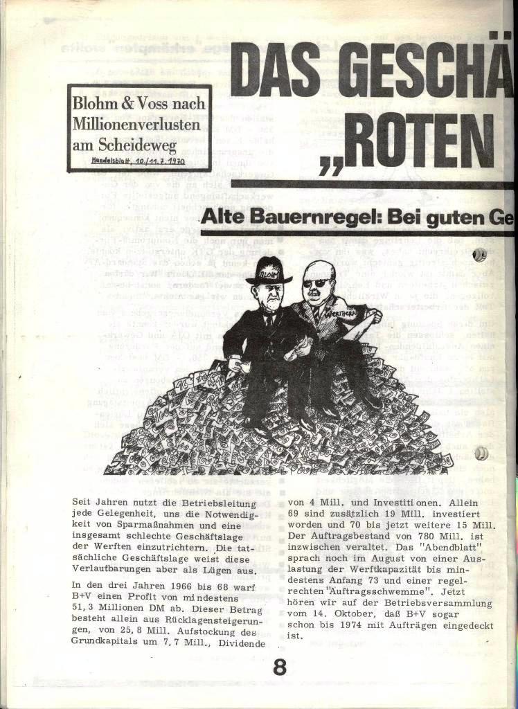Blohm und Voss Arbeiterzeitung, Nr. 4, Jg. 1, Nov./Dez. 1970, Seite 8