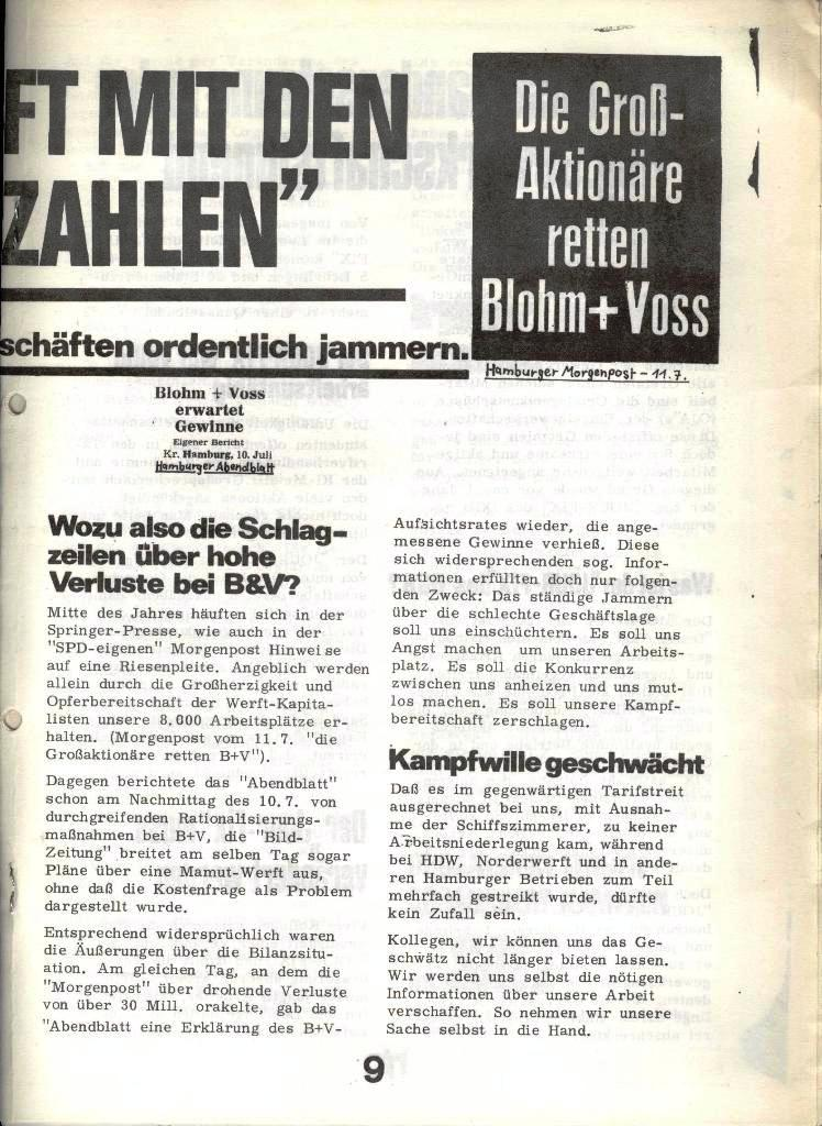 Blohm und Voss Arbeiterzeitung, Nr. 4, Jg. 1, Nov./Dez. 1970, Seite 9