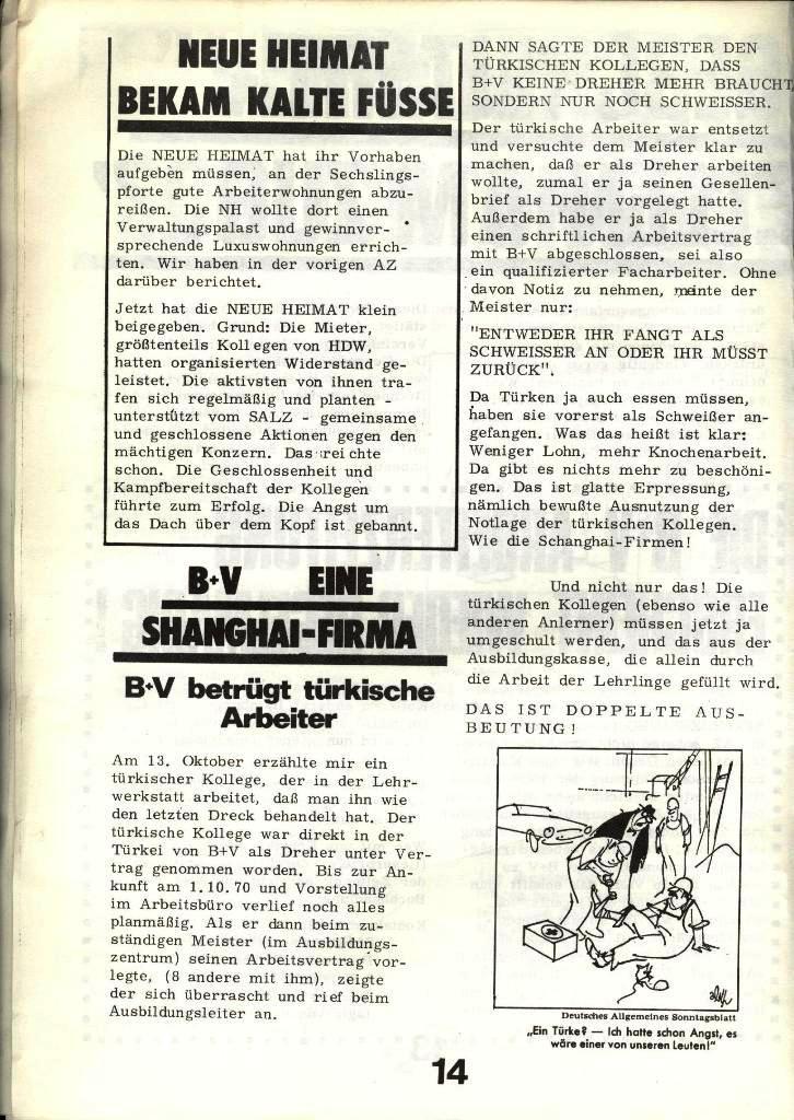 Blohm und Voss Arbeiterzeitung, Nr. 4, Jg. 1, Nov./Dez. 1970, Seite 14