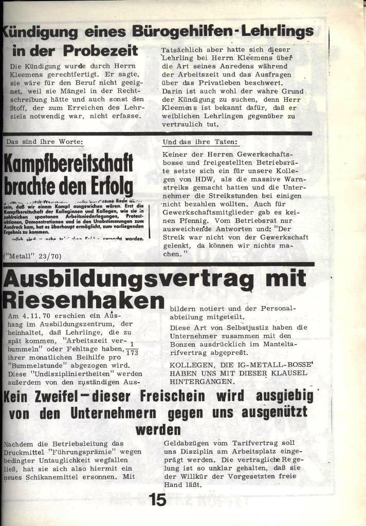 Blohm und Voss Arbeiterzeitung, Nr. 4, Jg. 1, Nov./Dez. 1970, Seite 15