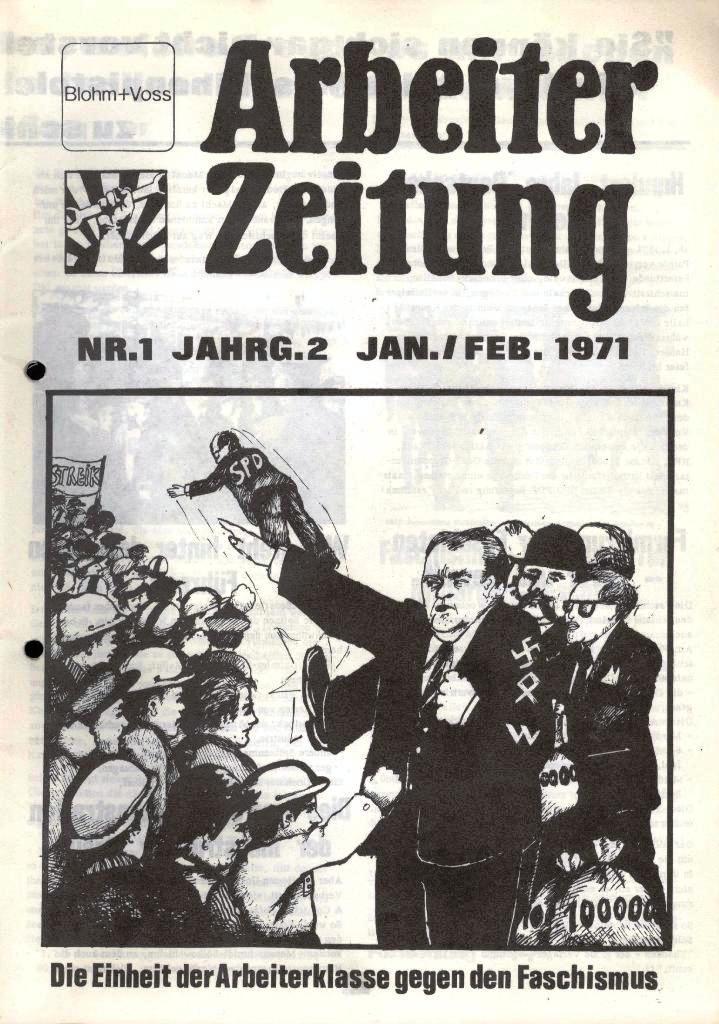Blohm und Voss Arbeiterzeitung, Nr. 1, Jg. 2, Jan./Feb. 1971, Seite 1