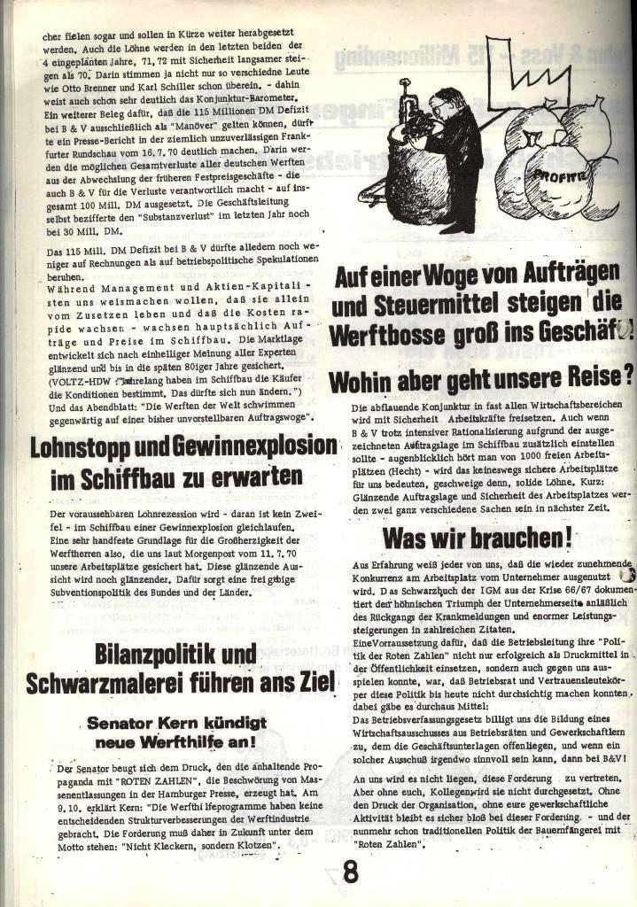 Blohm und Voss Arbeiterzeitung, Nr. 1, Jg. 2, Jan./Feb. 1971, Seite 8