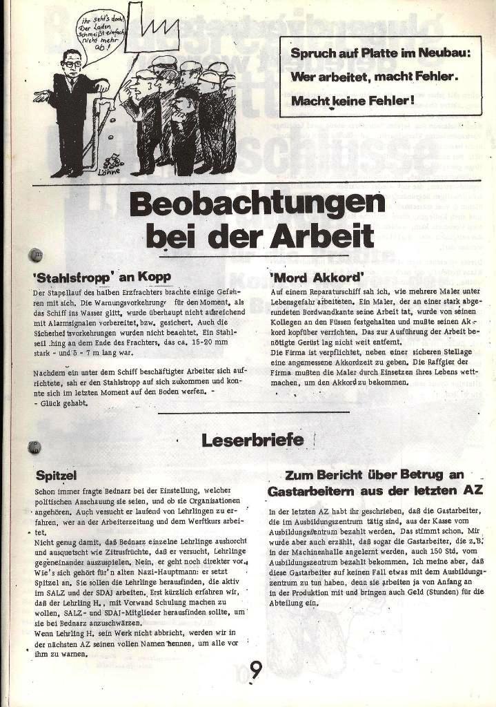 Blohm und Voss Arbeiterzeitung, Nr. 1, Jg. 2, Jan./Feb. 1971, Seite 9