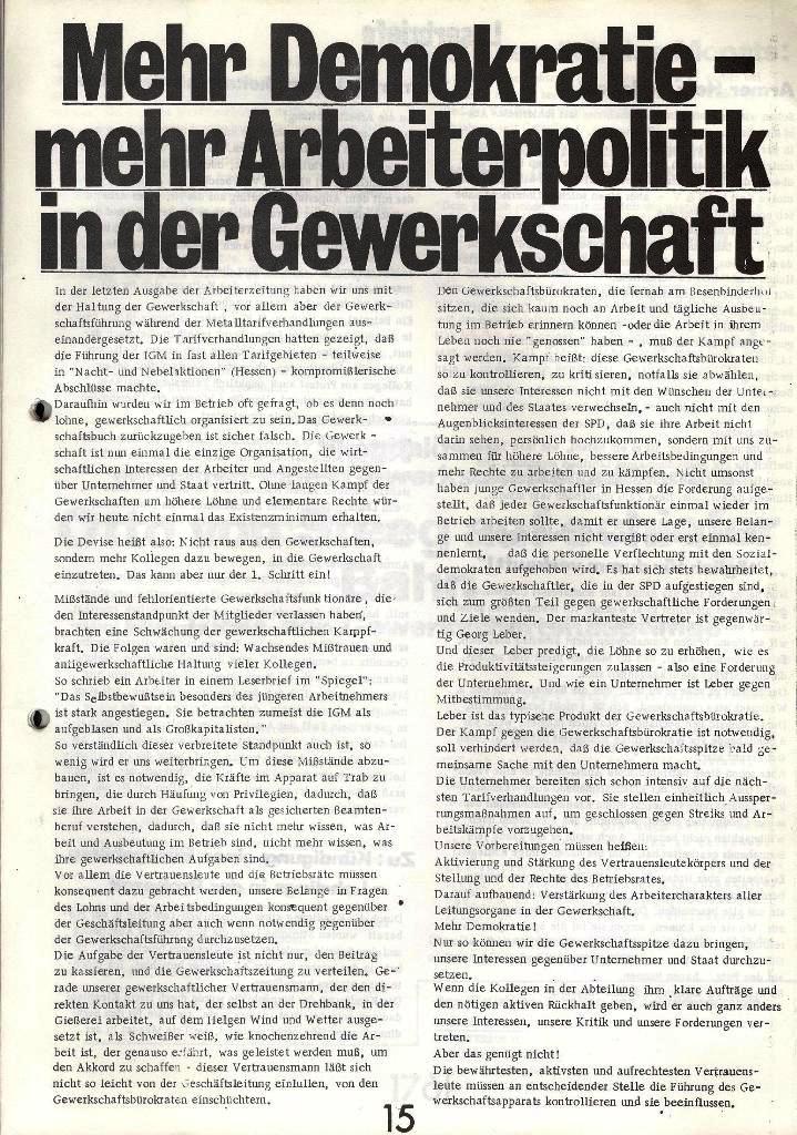Blohm und Voss Arbeiterzeitung, Nr. 1, Jg. 2, Jan./Feb. 1971, Seite 15