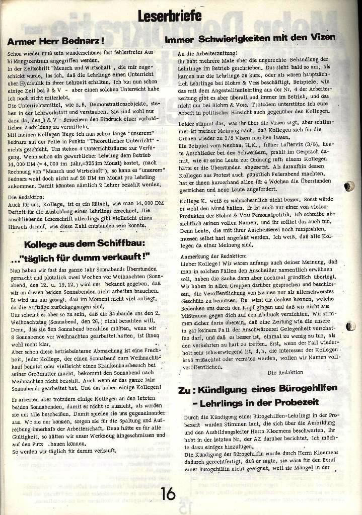 Blohm und Voss Arbeiterzeitung, Nr. 1, Jg. 2, Jan./Feb. 1971, Seite 16