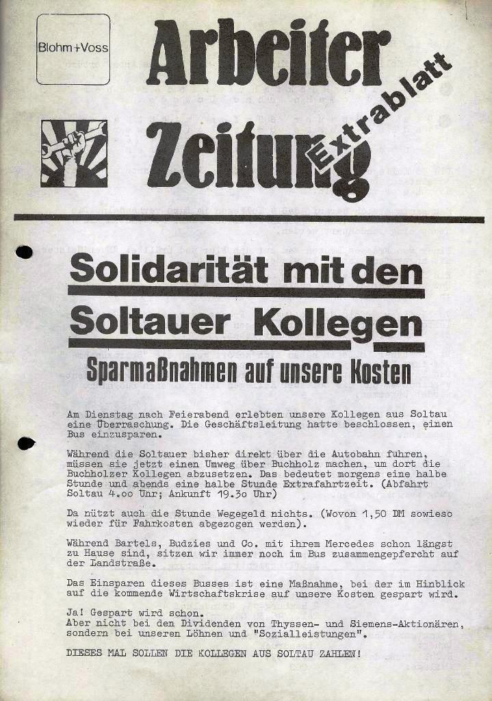 Blohm und Voss Arbeiterzeitung, Extrablatt, März 1971, Seite 1