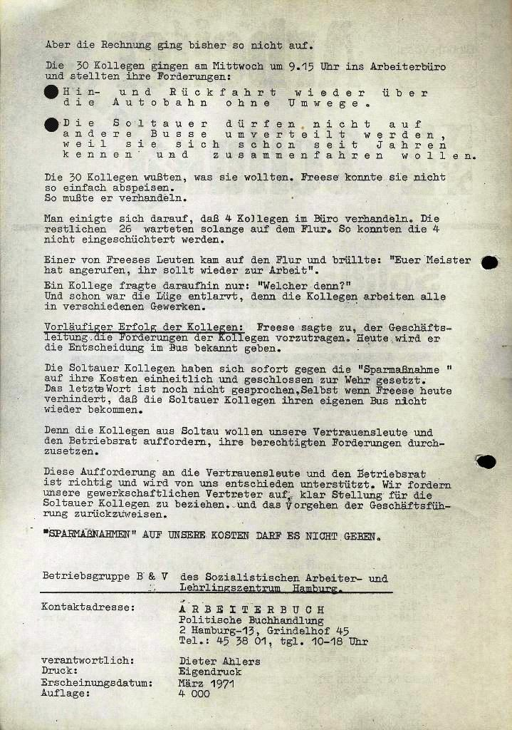 Blohm und Voss Arbeiterzeitung, Extrablatt, März 1971, Seite 2