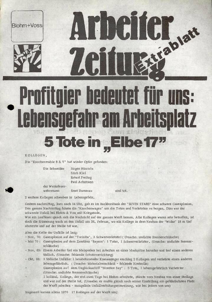 Blohm und Voss Arbeiterzeitung, Extrablatt, 16. März 1971, Seite 1