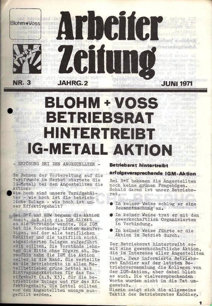 Blohm und Voss Arbeiterzeitung, Nr. 3, Jg. 2, Juni 1971, Seite 1