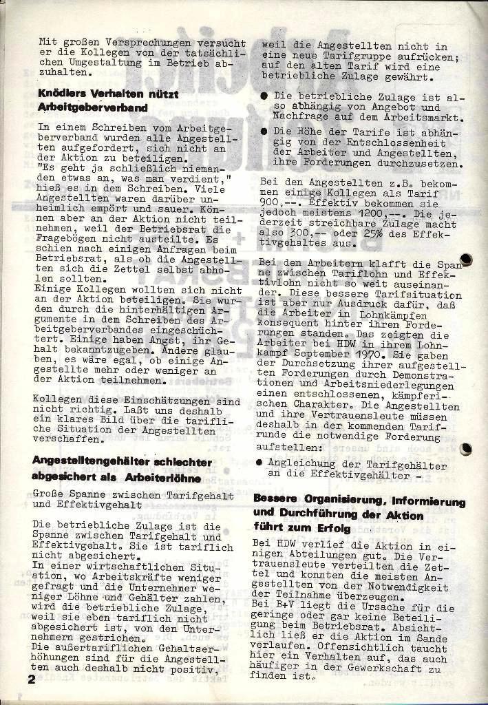 Blohm und Voss Arbeiterzeitung, Nr. 3, Jg. 2, Juni 1971, Seite 2