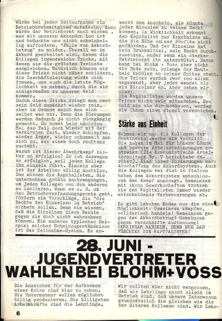 Blohm und Voss Arbeiterzeitung, Nr. 3, Jg. 2, Juni 1971, Seite 6