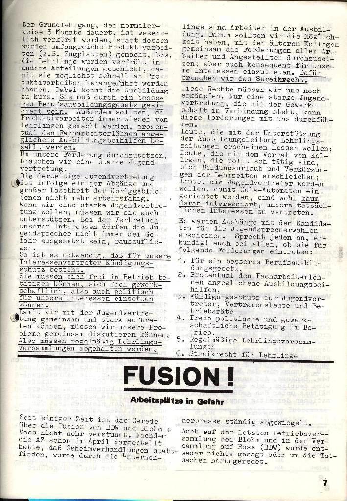 Blohm und Voss Arbeiterzeitung, Nr. 3, Jg. 2, Juni 1971, Seite 7