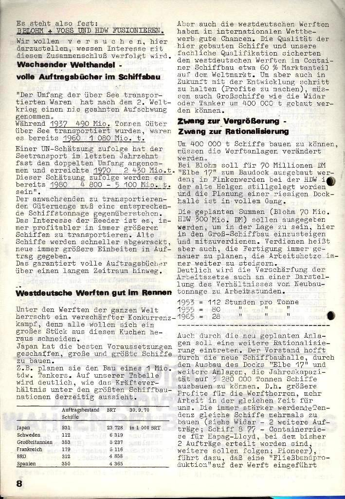 Blohm und Voss Arbeiterzeitung, Nr. 3, Jg. 2, Juni 1971, Seite 8