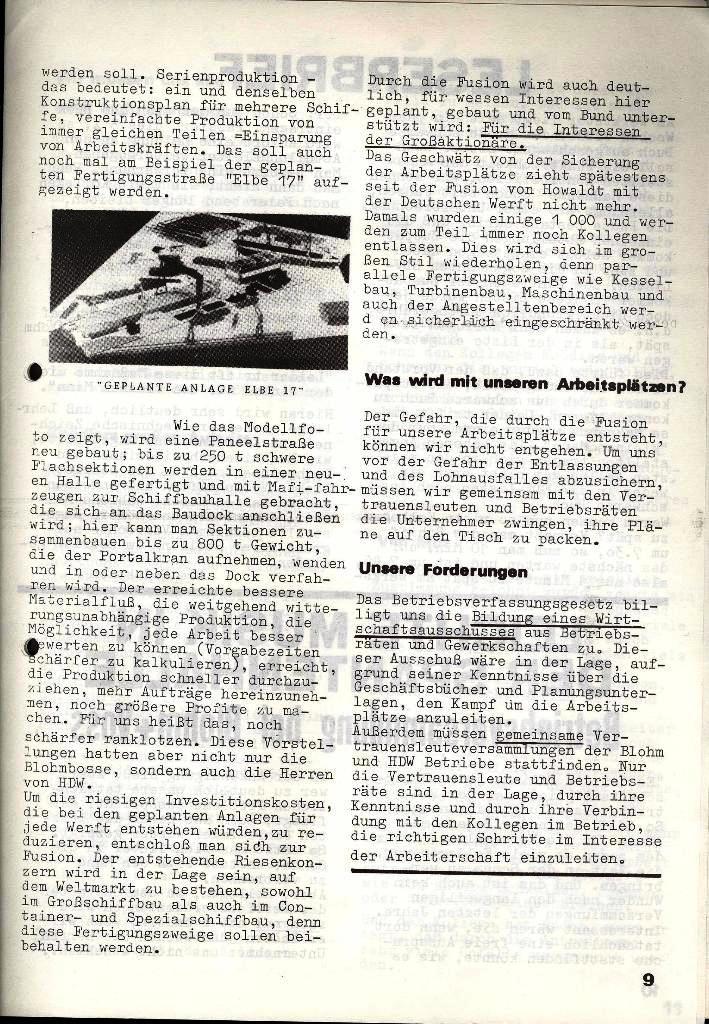 Blohm und Voss Arbeiterzeitung, Nr. 3, Jg. 2, Juni 1971, Seite 9