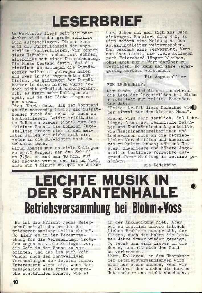 Blohm und Voss Arbeiterzeitung, Nr. 3, Jg. 2, Juni 1971, Seite 10