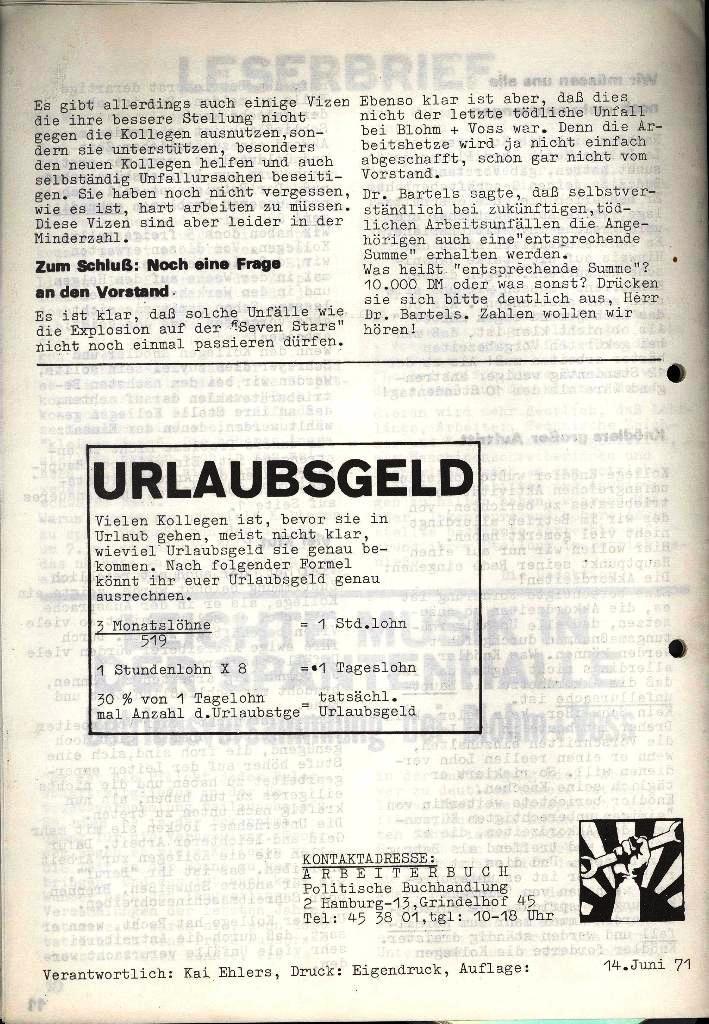 Blohm und Voss Arbeiterzeitung, Nr. 3, Jg. 2, Juni 1971, Seite 12