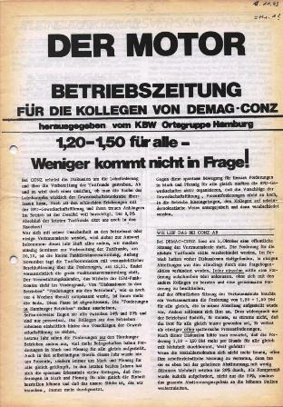 Der Motor _ Betriebszeitung für die Kollegen von DEMAG_Conz, hrsg. vom KBW, Ortsgruppe Hamburg