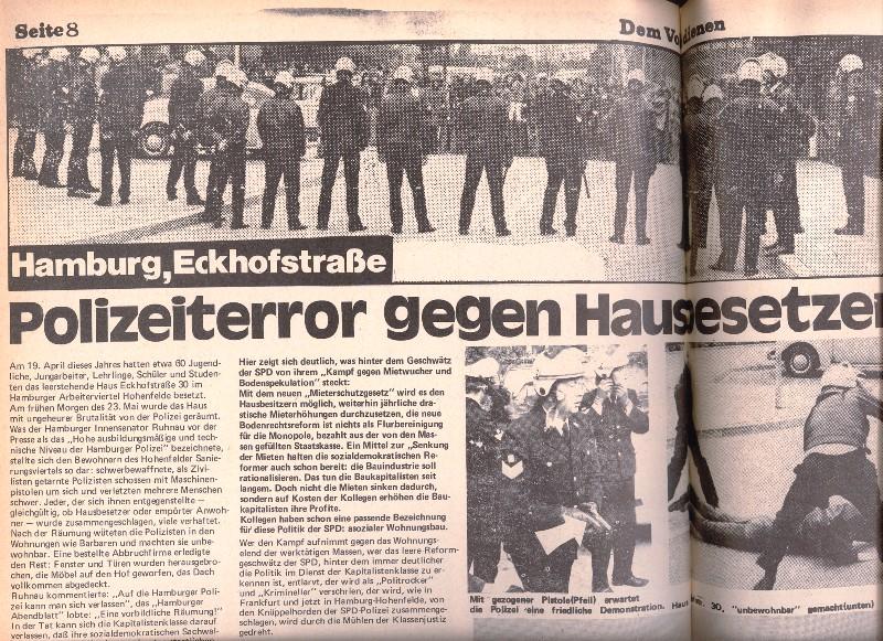 Artikel mit Fotos: Hamburg, Eckhofstraße: Polizeiterror gegen Hausbesetzer (Quelle: Dem Volke dienen)