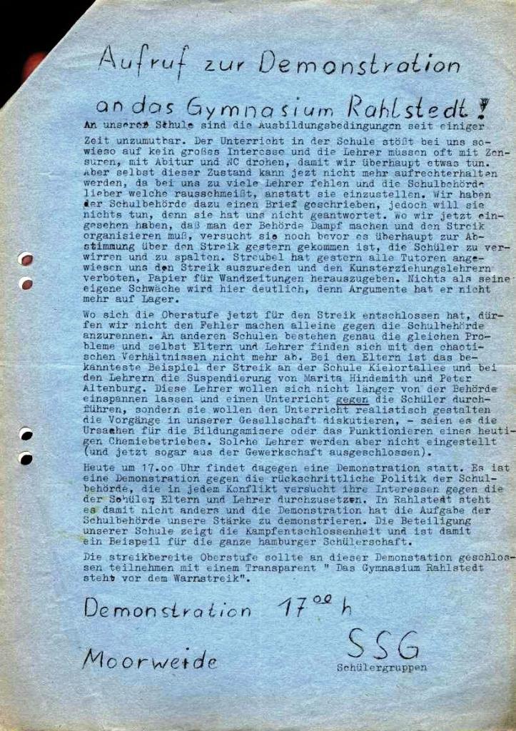 Flugblatt der SSG_Schülergruppe (1973)