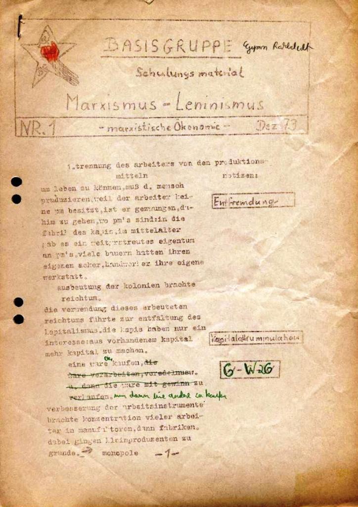 Schulungsmaterial der Basisgruppe (1973)