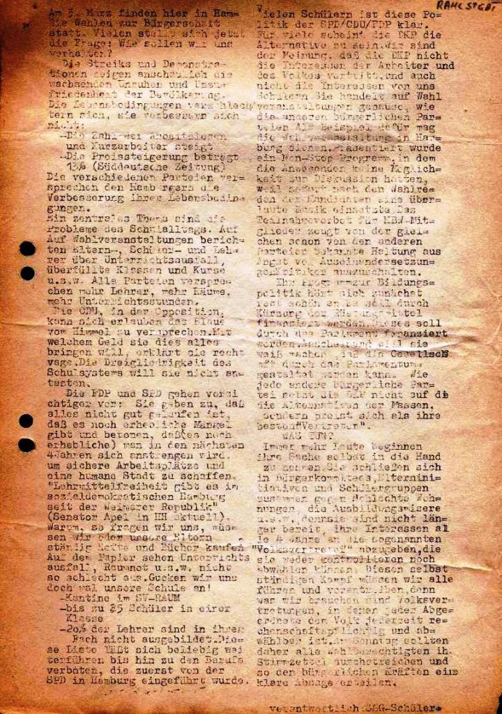 Flugblatt der SSG_Schülergruppe (1974)