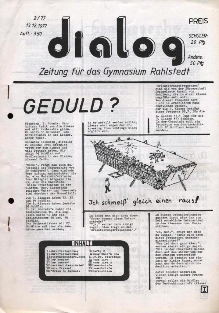 Dialog _ Zeitung für das Gymnasium Rahlstedt, Nr. 2/1977, Seite 1