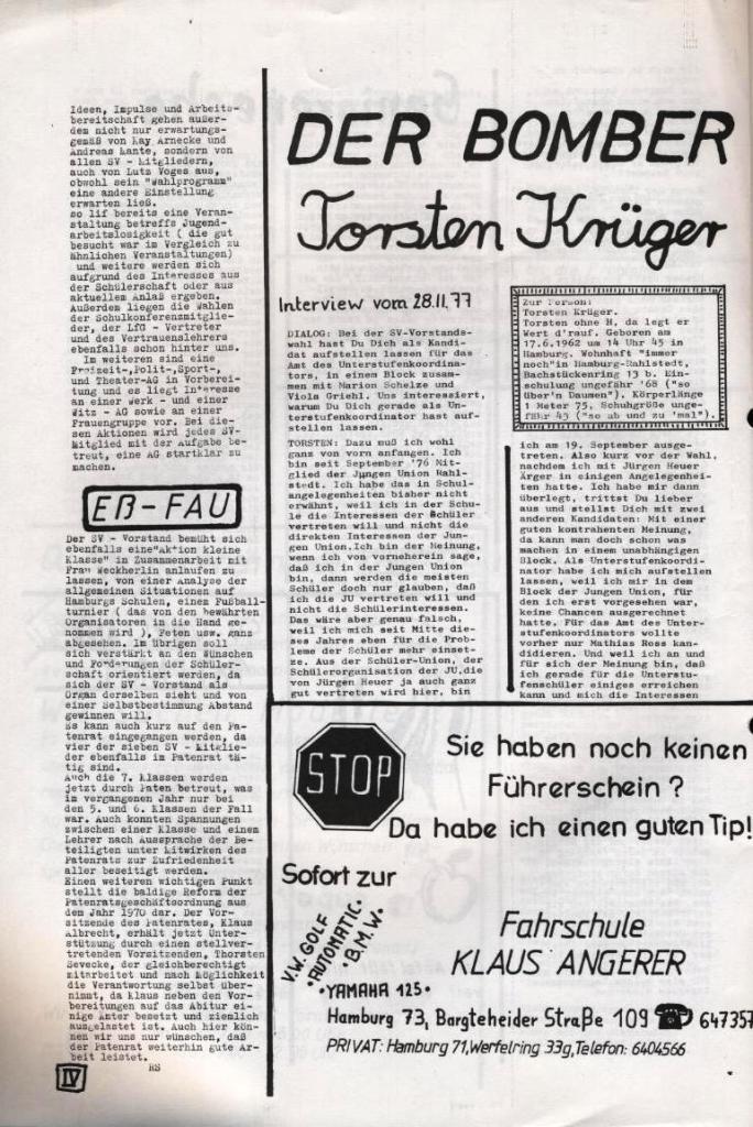 Dialog _ Zeitung für das Gymnasium Rahlstedt, Nr. 2/1977, Seite 4
