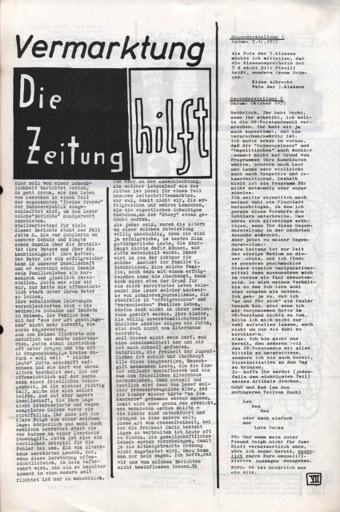 Dialog _ Zeitung für das Gymnasium Rahlstedt, Nr. 2/1977, Seite 7
