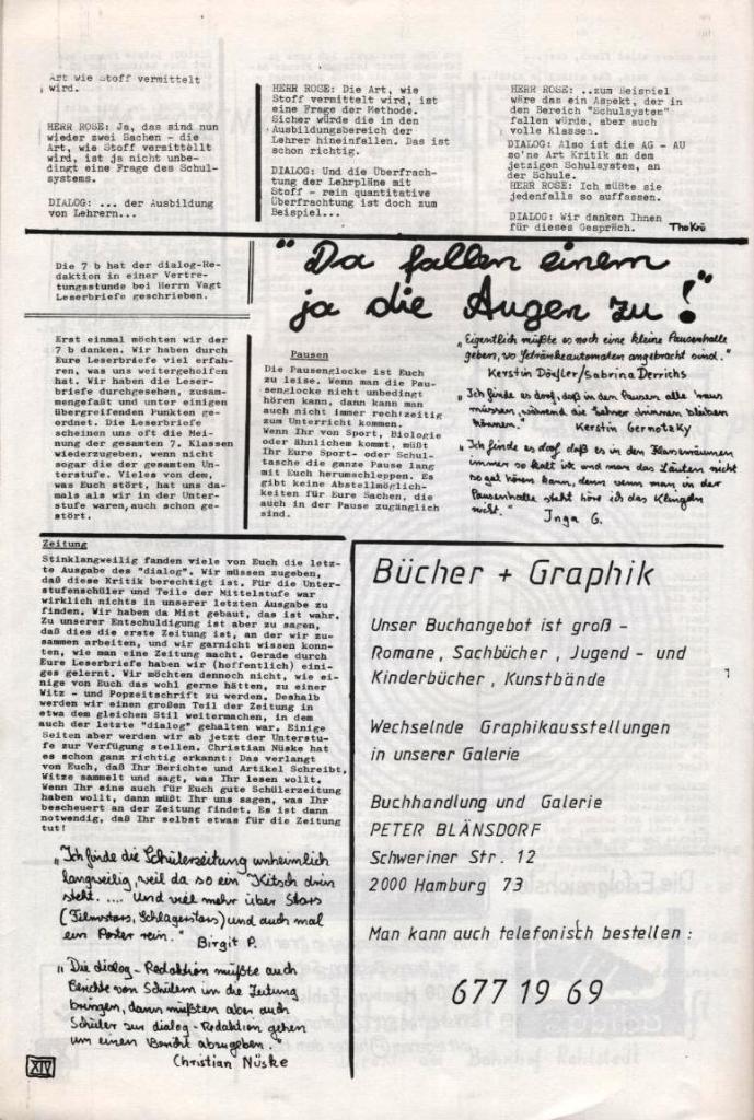 Dialog _ Zeitung für das Gymnasium Rahlstedt, Nr. 2/1977, Seite 14