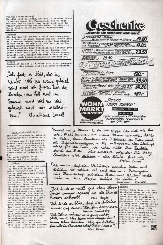 Dialog _ Zeitung für das Gymnasium Rahlstedt, Nr. 2/1977, Seite 15