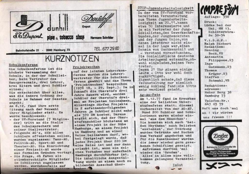 Dialog _ Zeitung für das Gymnasium Rahlstedt, Nr. 2/1977, Seite 16
