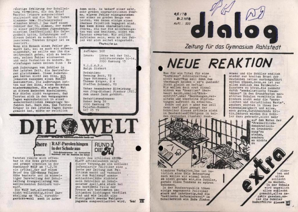 Dialog _ Zeitung für das Gymnasium Rahlstedt, Extra, 21.2.1978, S. 1 und 8