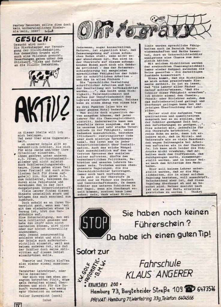 Dialog _ Zeitung für das Gymnasium Rahlstedt, Nr. 1/1978, Seite 4