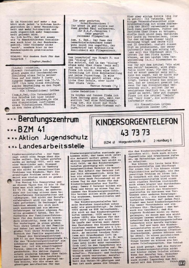Dialog _ Zeitung für das Gymnasium Rahlstedt, Nr. 1/1978, Seite 9