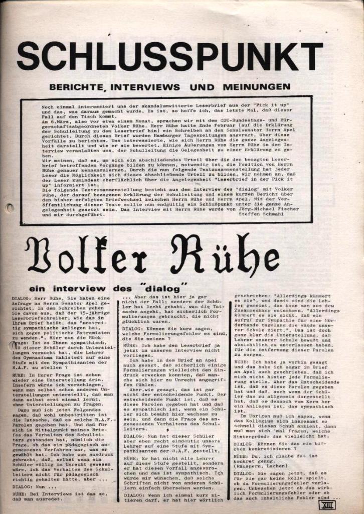Dialog _ Zeitung für das Gymnasium Rahlstedt, Nr. 1/1978, Seite 13