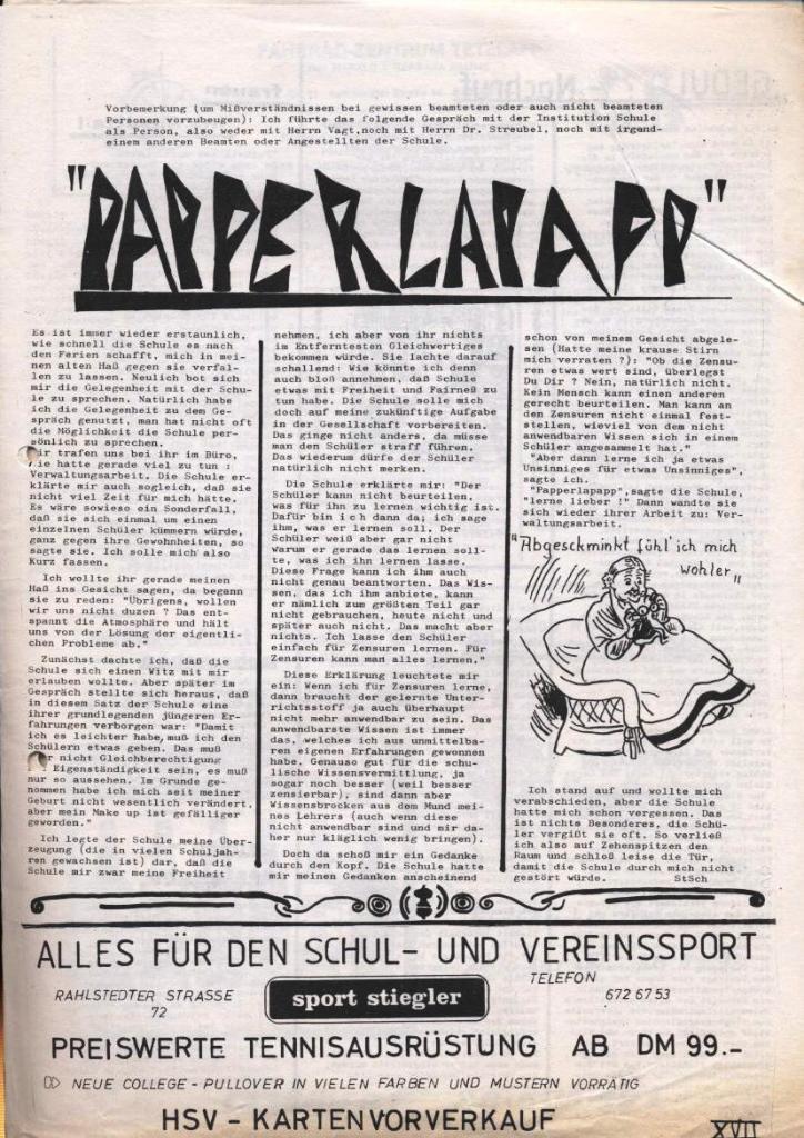 Dialog _ Zeitung für das Gymnasium Rahlstedt, Nr. 1/1978, Seite 17