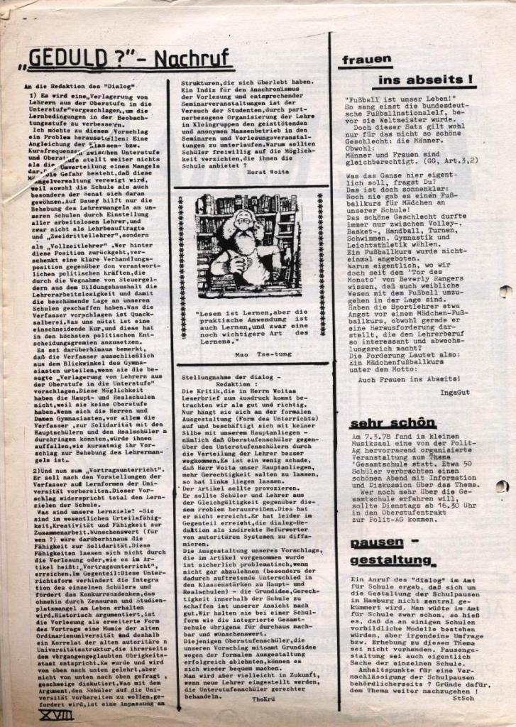 Dialog _ Zeitung für das Gymnasium Rahlstedt, Nr. 1/1978, Seite 18