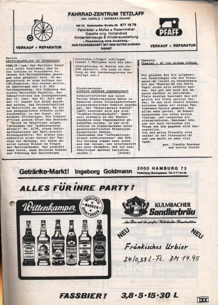 Dialog _ Zeitung für das Gymnasium Rahlstedt, Nr. 1/1978, Seite 19