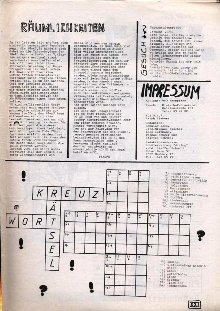 Dialog _ Zeitung für das Gymnasium Rahlstedt, Nr. 1/1978, Seite 21