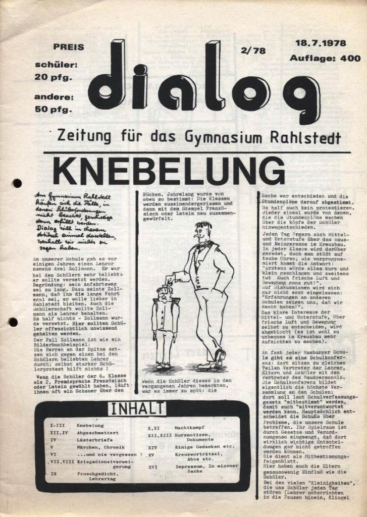 Dialog _ Zeitung für das Gymnasium Rahlstedt, Nr. 2/1978, Seite 1