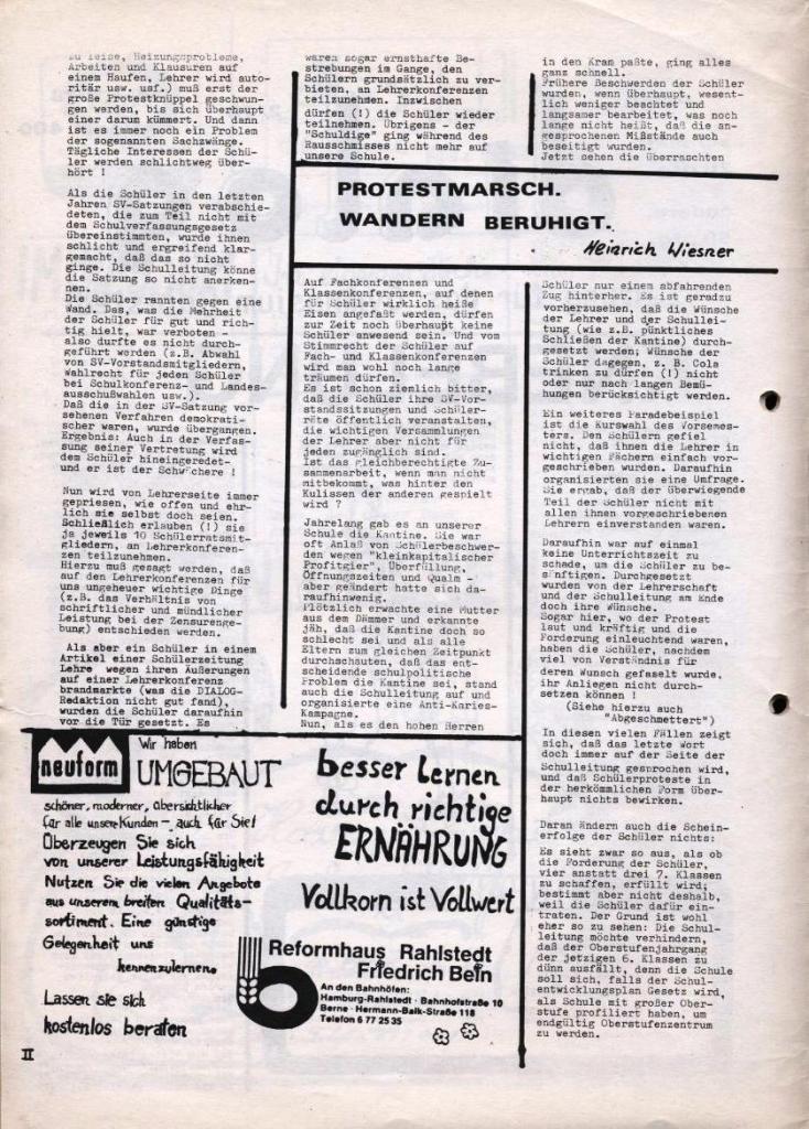 Dialog _ Zeitung für das Gymnasium Rahlstedt, Nr. 2/1978, Seite 2
