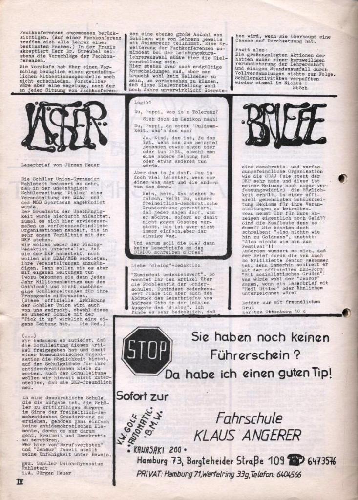 Dialog _ Zeitung für das Gymnasium Rahlstedt, Nr. 2/1978, Seite 4